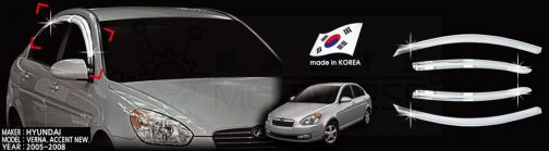 AutoClover Korea for Hyundai Accent 2006 2007 2008 2009 2010 2011 Chrome Window Vent Sun Visors Rain Guards Out channel Visor a443