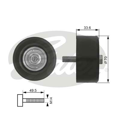 GATES Tensioner Pulley: T36174
