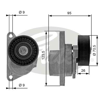 GATES Tensioner Pulley: T38190