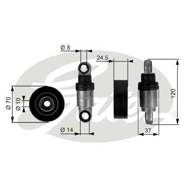 GATES Tensioner Pulley: T38242