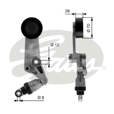 GATES Tensioner Pulley: T38286