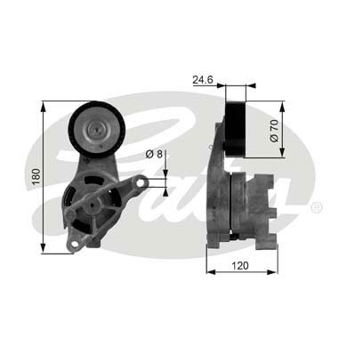 GATES Tensioner Pulley: T38438