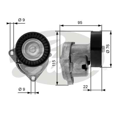 GATES Tensioner Pulley: T38448