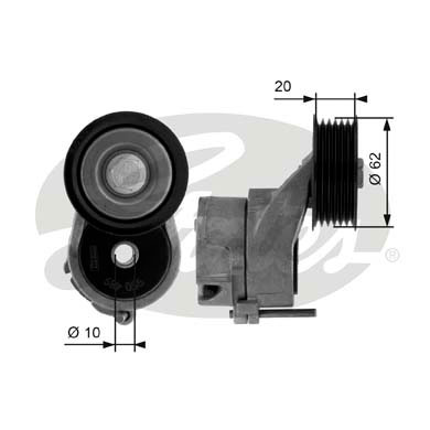 GATES Tensioner Pulley: T38450