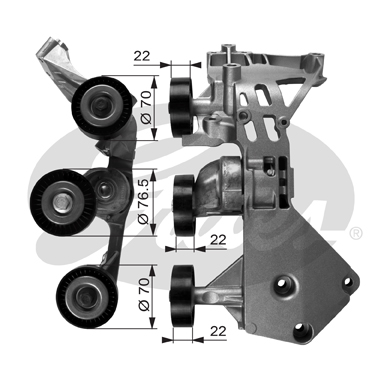 GATES Tensioner Pulley: T38465