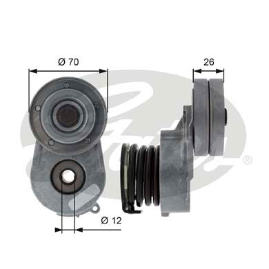 GATES Tensioner Pulley: T38496