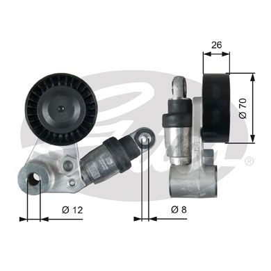 GATES Tensioner Pulley: T39104