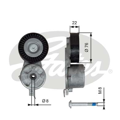 GATES Tensioner Pulley: T39141