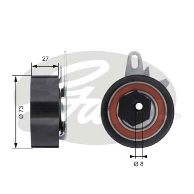 GATES Tensioner Pulley: T43047