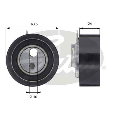 GATES Tensioner Pulley: T43049
