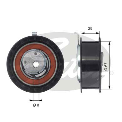 GATES Tensioner Pulley: T43052