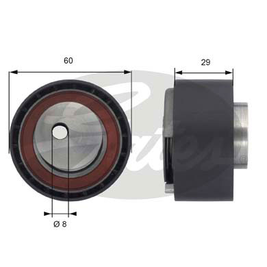 GATES Tensioner Pulley: T43055