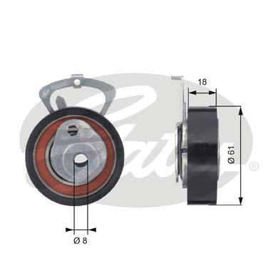 GATES Tensioner Pulley: T43078