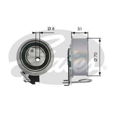 GATES Tensioner Pulley: T43135