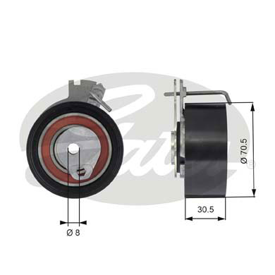 GATES Tensioner Pulley: T43159