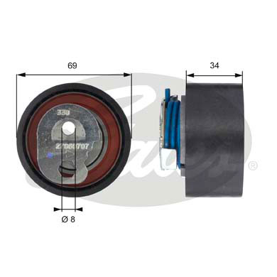 GATES Tensioner Pulley: T43163