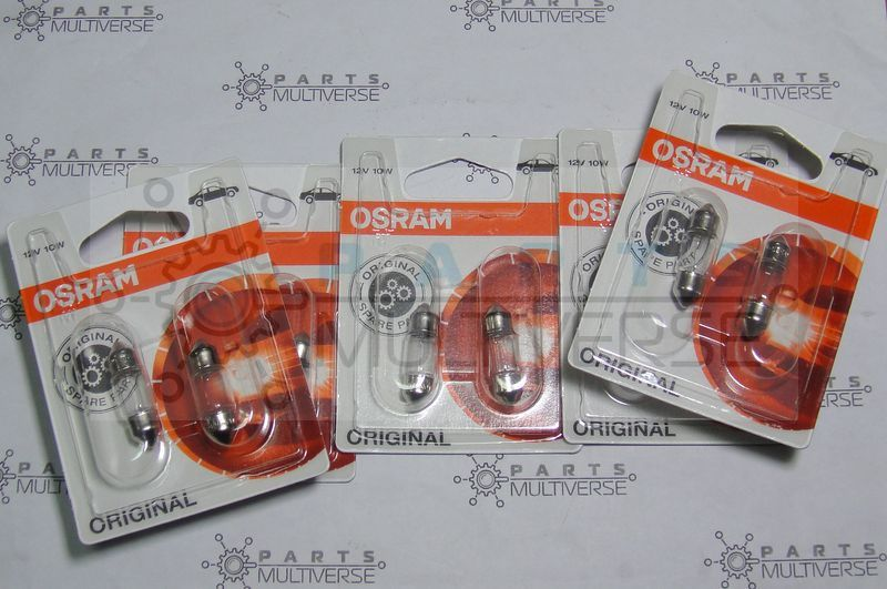 6438 Osram C10W 10w 31mm Halogen Interior Bulbs 12V (10pc. total)